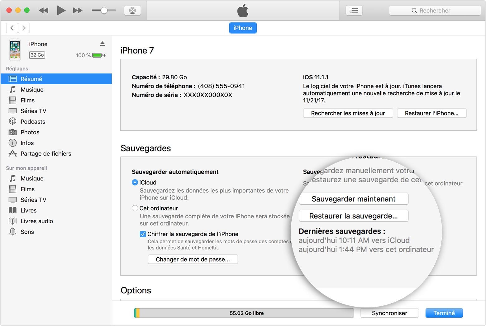 macos itunes12 7 iphone7 summary backups 2